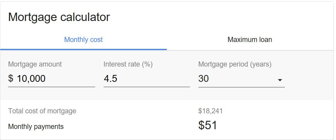 Mortgage on 10k